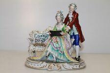Carl Scheidig Kunstporzellan Porcelain Couple Reading Book Figurine East Germany