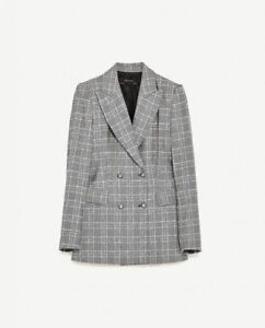 Zara Double Breasted Check Blazer Size Large