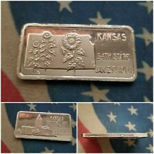"1 oz .999 Fine Silver Bar/Round ""Kansas, 34th State"""