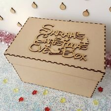Wooden Personalised Christmas Eve Box And Topper mdf Xmas  Gift  Memory Box S321