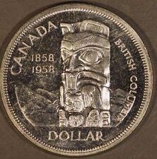 1958 Canada Silver Dollar British Columbia Centen. CH PL **Free U.S. Shipping**