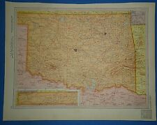 Vintage Circa 1952 Oklahoma Map Old Original Atlas Map - Free S&H
