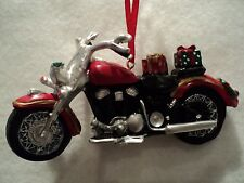 """Ksa """"Resin Motorcycle With Gifts Ornament"""" ~ New ~ Great Details"""