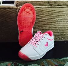 NEW RARE ROXY GIRLS SIZE 13 CHARMER LEATHER SNEAKER SHOES WHITE PINK SPARKLES