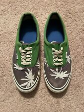 Men's Vintage Vans Weed Palm Trees Hemp Leafs Green-White Sneakers Size 11 Rare