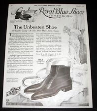 1918 OLD WWI MAGAZINE PRINT AD, SELZ, ROYAL BLUE SHOES, ALL LEATHER TODAY, ART!