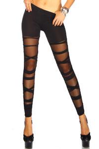 jowiha Sexy Leggings im Bandage Look für Damen teiltransparent in Schwarz S/M