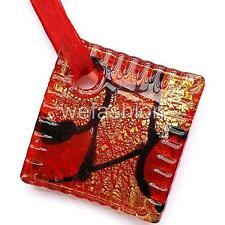 Silver Red Brown Square Lampwork Murano Glass Bead Pendant Ribbon Necklace Cord