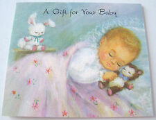 Unused Vtg Little Baby Gift Card Sleeping Baby with Bear & White Rabbit
