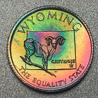 WYOMING Proof Franklin Mint Sterling Silver Mini Coin - Rainbow Toning