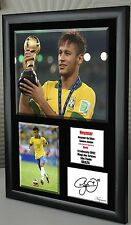 """Neymar Brazil Framed Canvas Tribute Print  Signed   World Cup       """"Great Gift"""""""