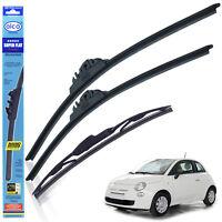 """Fiat 500 2007-on wiper blades alca SUPER FLAT 24""""14""""TL + rear 12""""CLASSIC"""