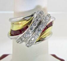 Absolutely Gorgeous Made in ITALY 18 KT Two Tone Ruby and Diamonds Ring 7.5