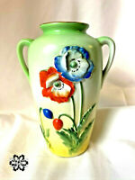 "Embossed Poppy Green Vase TRICO Hand Painted Raised Flowers Pastel Mint  6"""