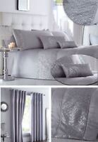 Sequined Silver Duvet Cover Bedding Bed Set Or Cushion Or Curtains Or Runner New