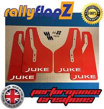 Nissan JUKE Nismo Mudflaps Mud Flaps full Set of 4 Red Juke Logo White (4mm PVC)