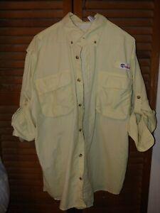 All American Fisherman Vented Fishing Shirt medium light yellow nylon button up