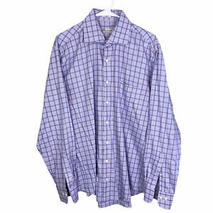 Peter Millar Crown Ease Button Front Shirt Large Purple Blue White Check Cotton
