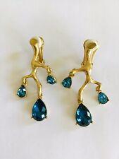 Authentic Oscar De La Renta Twig Branch Blue Crystal Earrings Clip