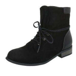 Stiefel Stiefeletten Ankle Boots Chelsea Flach Blockabsatz Schnürung Schwarz 38