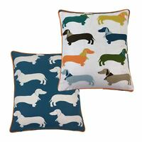 "2 X DACHSHUNDS SAUSAGE DOGS BANDANAS WHITE 17"" - 43CM CUSHION COVERS"