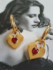 Vintage CHANEL clip-on earrings red stone heart dangle