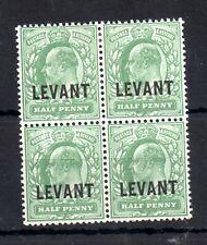 British Levant 1912 1/2d dull yellow green mint MH block #L11 WS13027