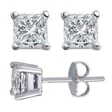1.50CT Princess Cut Solitaire Simulated Diamond Earrings 14k White Gold Push Bac