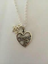 "Sweet 16 Heart Charm Pendant Necklace 16th Birthday 18"" Silver Plated Chain Gift"