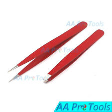 Professional Beauty Eyebrow Tweezers Slanted & Pointed Tips Hair Remover Red
