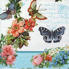 TOVAGLIOLI di carta 4x-Fiori & Farfalla-per feste, decoupage
