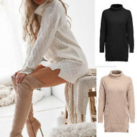 Jumper Mini Long Sleeve Sweater Dress Knitted Womens Turtleneck Pullover