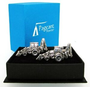 JCB Digger English Silver Pewter Cuff Links in Presentation Gift Box