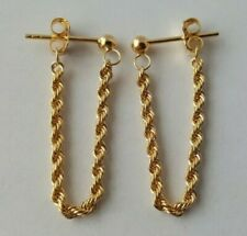 9ct Yellow Gold Rope Twist Chain Drop Earrings 0.95g NEW Xmas Gift Wife Present