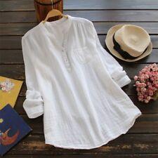 Damen Leinenhemd Leinenbluse Hemden Freizeit Bluse Tunika Longshirt Top Gr.46 48