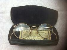 Vintage round Lennon or Ben Franklin style gold Eyeglasses case +certificate old