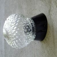 Vintage Lamp ART DECO Mid Century Round Glass Shade Wall LIGHT Sconce FIXTURE