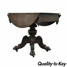 Antique 19th C Classical America Empire Carved Mahogany Paw Feet Drop Leaf Table