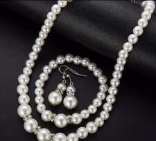 White Pearl Faux Pearl Crystal Necklace Earrings Bracelet Set Wedding Prom Bride
