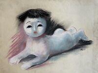 Charlotte Zurek 1910-1971 Gesso Ritratto Bambino Asia Rosso Cina Giappone