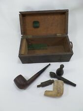 lot fumeur ,pipe en ecume de mer et briquet dans leur boite /vintage smoking