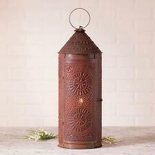 Primitive new large Rusty punched tin floor Revere lantern light / nice