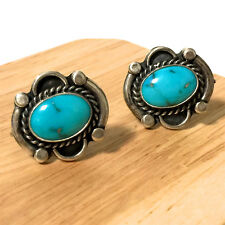 Vintage Sterling Silver Navajo Turquoise Earrings Screw Back
