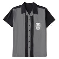 Men Shirts Rockabilly Bowling Shirts Tiki Embroidered Short Sleeve Casual Shirts