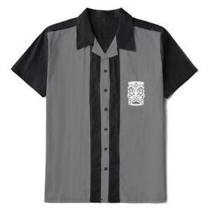 Men Shirts Rockabilly Bowling Shirts Tiki Embroidered Short Sleeve Casual Shirts