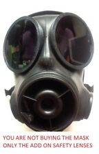 S10 Respirator Gas Mask Outsets Safety polycarbonate Lenses Black see through