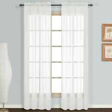 "2 Pack Fully Stitched Sheer Window Curtain Panel Drapes 63"" 84"" 95"" 108"" 120""L"