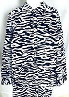 Roaman's Women's 24W Blouse Black White Button Down Collared 3/4 Sleeves Zebra