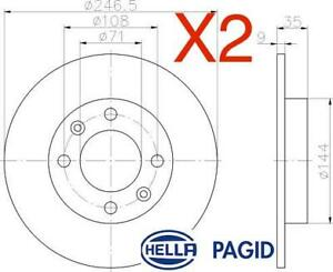 Rear Brake Discs 246.5mm 50366PRO fits Peugeot 307 3E 2.0 HDI 90 1.6 HDi 110