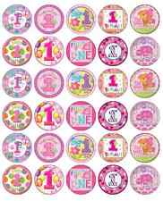30 x 1st First Birthday Girl Cupcake Toppers Pink Edible Paper Fairy Cake Topper